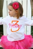 Little person birthday shirt embroidered with their age and name
