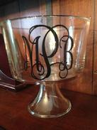 Monogrammed glass trifle; monogrammed bowl; monogrammed wedding bowl