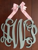 Wood wall or door monograms.  Large wood monogram or initials are great gifts.