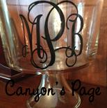 Monogrammed glass trifle bowl with 4' vinyl monogram
