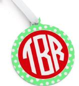 Monogram bag tag in metal for your school or athletic bag