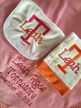 Blanket, burp & bib embroidered with monogram or name & other specific information