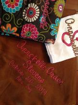 Blanket, burp & cooler embroidered with monogram or name & other specific information