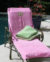 Monogrammed lounge or chair cover.  Monogrammed towel for beach chair.