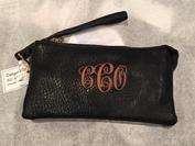 stadium approved wristlet monogrammed in many college colors
