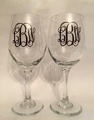 Monogrammed wine glasses.  Set of two or four, choose your font and vinyl color.