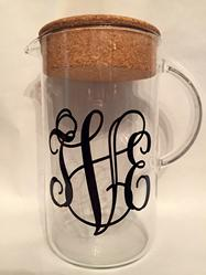Monogrammed glass pitcher with cork stopper.  Beautiful glass pitcher customized with your monogram.  Perfect gift for weddings, birthdays or housewarming.