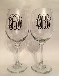 Monogrammed wine glasses.  Set of two or four, choose your font and vinyl color.  Wedding, LGBT wedding, graduation, housewarming gifts.