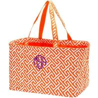 Monogrammed carry-all tote is perfect for car or travel.  Monogram or personalize collapsible tote in your choice of fonts and colors.