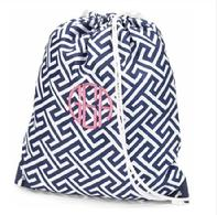 monogrammed drawstring backpack or personalized with a name