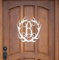 Monogram wood antlers for your door, wall or fireplace.  Choose your color