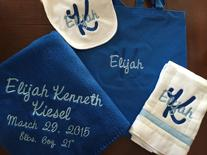 Monogrammed baby blanket, burp cloth, bib and matching tote.