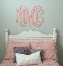 Wall monogram in painted birchwood to match any bedroom, family room, bath etc in your home