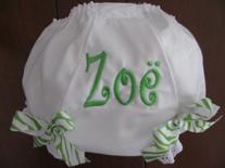 Monogrammed diaper cover or panty cover.