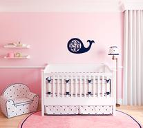 Whale wood monogram is a perfect accent to any nursery room or child's bedroom.