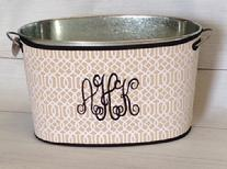 Galvanized bucket with monogrammed neoprene wrap!  Change it up for occasions, holidays, special events!