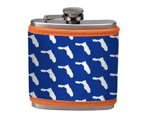 Personalize your favorite college flask.  Neoprene cover over a decent size flask.