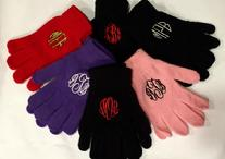 Gloves with a monogram in your choice of fonts and colors.  Monogrammed or personalized gloves fit most.