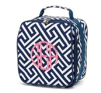 Personalized monogrammed lunch box, fully insulated with exterior flap