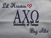 Sorority pillow for big sis, little sis.  Alpha Chi Omega and more.
