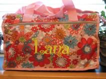 Girls monogrammed or personalized duffel for overnight, sleepover or travel.