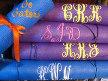 Monogrammed yoga mat or personalized work out mat.