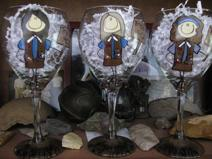 Girl Scout leader or Brownie troop leader gift.  A personalized wine glass to look like the leader.