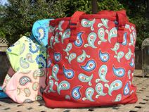 mongrammed paisley canvas tote, monogrammed beach tote