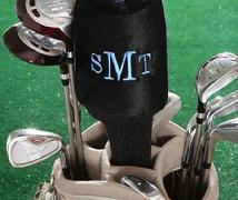 Golf club cover monogrammed as a single or a set of four