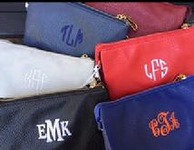 Monogrammed crossbody bag, wristlet or clutch.  Stadium approved.