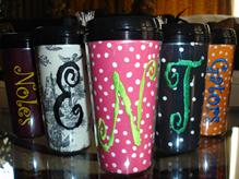Beverage tumblers, sports bottles and koozies all monogramed for you!
