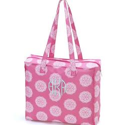 Monogrammed tote bag in pink maddie or aqua maddie.  Personalize toe bag with name or monogram.