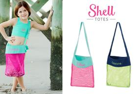 Collect shells in a mesh monogrammed or personalized bag