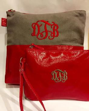 Red cosmetic bag monogrammed or personalized.  Small accessory bag or cosmetic bag with matching wristlet with monogram