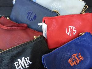 Monogrammed crossbody, clutch or wristlet, 3 ways to wear it.  Perfect accessory in a variety of colors.