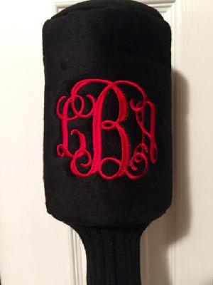 Plush monogrammed golf head covers in a set of 4