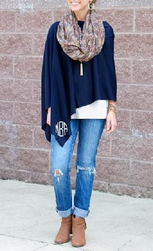 Monogrammed poncho, 2 in 1 ways to wear it as a poncho or a warm monogrammed scarf.