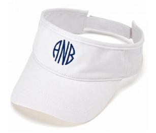 Monogrammed Visor, monogramed for free.  Pack it, crush it, no problem.