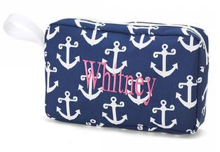 Navy Anchor monogrammed or personalized small accessory bag or cosmetic bag