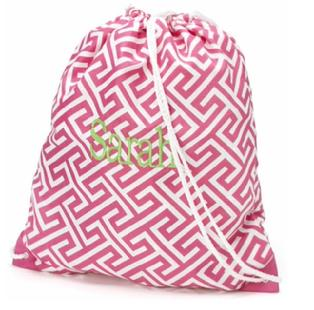 Drawstring backpack with monogram