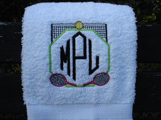 Tennis Towel, personalized in 4 colors.