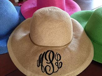 Sunhat, monogramed for free.  Pack it, crush it, no problem.