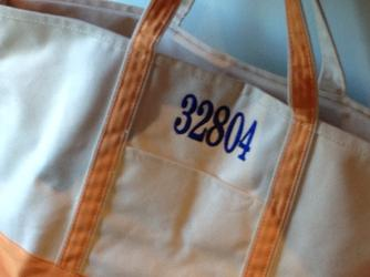 Monogrammed or personalized large canvas tote.