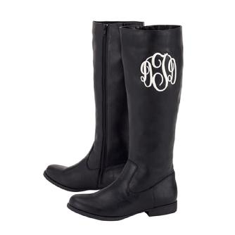 "Black monogrammed riding boots with 1"" heel."