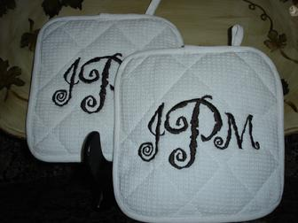 monogram pot holders, a perfect house warming gift