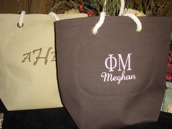 Phi Mu grass tote bag personalized with your name.